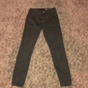 Olive Green High Waisted Jeggings (W REAL POCKETS)